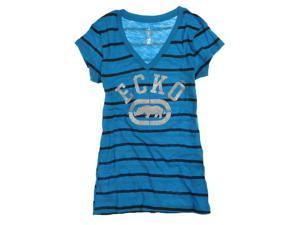 Ecko Unltd. Womens Stripe Glitter V-neck Graphic T-Shirt bluejewel S
