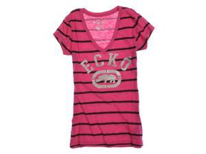 Ecko Unltd. Womens Stripe Glitter V-neck Graphic T-Shirt berry XS