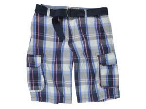 Ecko Unltd. Mens Intersection Plaid Belted Casual Cargo Shorts indigoblue 36