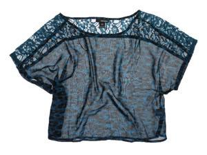 Ecko Unltd. Womens Printed Lace Crop Pullover Blouse seablue L