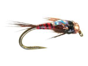 Umpqua Two Bit Hooker Red Fly Fishing Tungsten Bead Head Flies Size 18 - 12 Pack