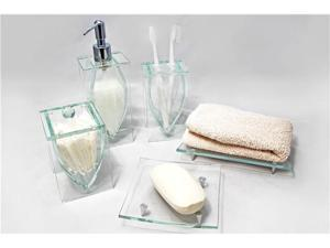 LIANG THING, Sparkling & Classic Glass 5-Piece Bath Set / Bath / Bathroom Accessories - Includes Lotion Dispenser, Toothbrush ...