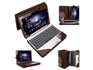 GMYLE(R) Folio Case with Keyboard Case for Asus Transformer Book T100 - Brown Crazy Horse Pattern PU Leather Protective Slim ...