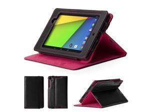 GMYLE (TM) Black and Hot Pink PU Leather Slim Flip Folio Case Cover Stand for Google New Nexus 7 FHD 2013 Version 2