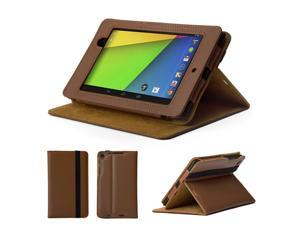 GMYLE (TM) Brown & Khaki PU Leather Slim Flip Folio Case Cover Stand for Google New Nexus 7 FHD 2013 Version 2