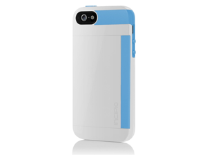 Incipio Stowaway for iPhone 5 - Retail Packaging - Optical White / Cyan Blue