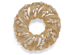 PalmBeach Jewelry Round Simulated Pearl Wreath/Circle Pin in Yellow Gold Tone
