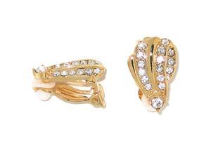 PalmBeach Jewelry Crystal Clip-On Earrings in Yellow Gold Tone