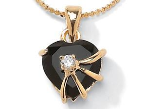 PalmBeach Jewelry Heart Shaped Onyx with Cubic Zirconia Accent Pendant Necklace in 14k Gold-Plated