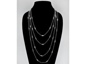 """PalmBeach Jewelry 2.94 TCW Round Cubic Zirconia Silvertone Waterfall Necklace 100"""""""