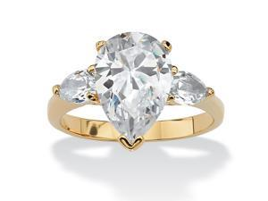 4.89 TCW Pear Cut Cubic Zirconia 18k Yellow Gold-Plated 3-Stone Bridal Engagement Ring