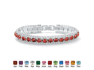 """Round Simulated Birthstone Crystal Accent Silvertone Tennis Bracelet 7""""- July- Simulated Ruby"""