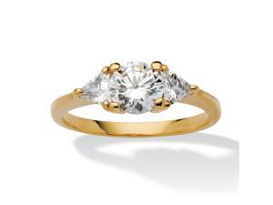 PalmBeach Jewelry 2.18 TCW Round and Trilliant-Cut CZ 14k Gold-Plated 3-Stone Engagement Ring