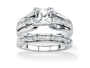 PalmBeach Jewelry 1.88 TCW Princess-Cut CZ Platinum Over Silver Engagement Wedding Band Set