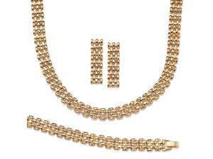 PalmBeach Jewelry 3 Piece Panther-Link Necklace, Bracelet and Earrings Set in Yellow Gold Tone