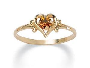 PalmBeach Jewelry Oval-Cut Birthstone 14k Yellow Gold-Plated Heart-Shaped Ring- November