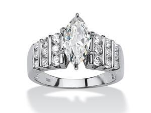 PalmBeach Jewelry 2.84 TCW Marquise-Cut and Round Cubic Zirconia Platinum over Sterling Silver Ring