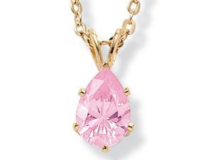 PalmBeach Jewelry 1.80 TCW Pear Cut Pink Cubic Zirconia Pendant Necklace in Yellow Gold Tone