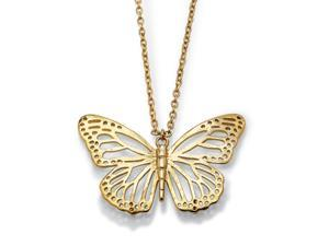 PalmBeach Jewelry Butterfly Cutout Pendant Necklace in Yellow Gold Tone