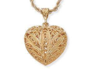 PalmBeach Jewelry Filigree Heart Pendant Necklace in Yellow Gold Tone 24""