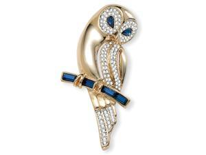 PalmBeach Jewelry Blue and Clear Crystal Owl Pin in Yellow Gold Tone