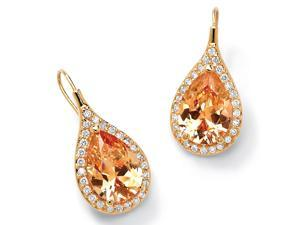 PalmBeach Jewelry 11.60 TCW Champagne/White Cubic Zirconia 18k Gold-Plated Drop Earrings