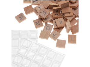 100 Wooden Scrabble Tiles W/ 100 Epoxy Stickers Kit