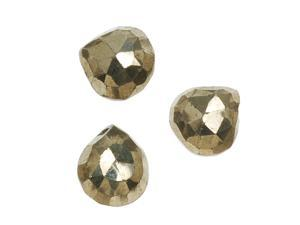 Pyrite Fools Gold Faceted Heart Briolette Gemstone Beads 6-7mm  (10 Pieces)