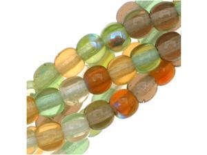 Czech Glass Druk 4mm Round 'Earthtone Color Mix Lt Green/Amber' (100)