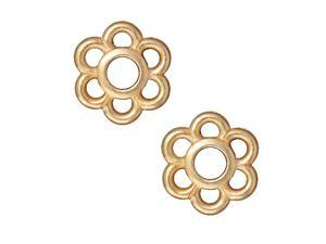 22K Gold Plated Pewter 6 Petal Flower Connector Link 13.5mm (2)