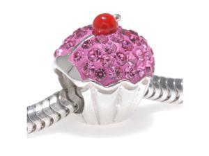 Sterling Silver Large Hole Bead With Pave Crystal - Pink Cupcake 12.5x11.5mm (1)
