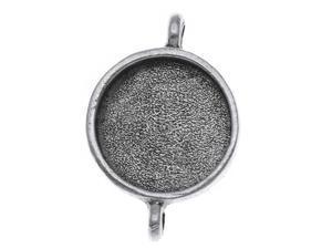 Nunn Design Antique Silver Plated Pewter Collage Bezel Round 2 Loop Pendant 5/8""