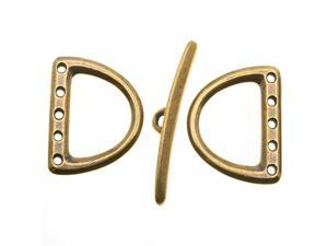 Brass Oxide Finish Lead-Free Pewter 5-Hole D Ring Toggle Clasp Set 19x24mm (1)