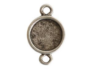 Nunn Design Bezel Link, Itsy Circle 10.8x17.5mm, 1 Piece, Antiqued Silver