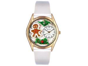 Christmas Gingerbread White Leather And Goldtone Watch #C1220006