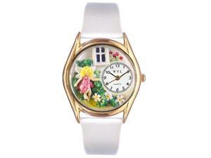 Daisy Fairy White Leather And Goldtone Watch #C1211003