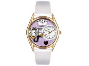 Nurse Purple White Leather And Goldtone Watch #C0610032