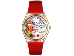 Christmas Nutcracker Red Leather And Goldtone Watch #C1220007