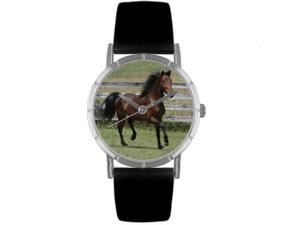 Morgan Horse Black Leather And Silvertone Photo Watch #R0110029