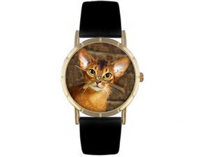 American Shorthair Cat Black Leather And Goldtone Photo Watch #P0120035