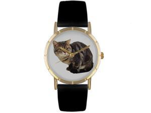 Bombay Cat Black Leather And Goldtone Photo Watch #P0120037