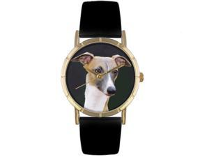 Greyhound Black Leather And Goldtone Photo Watch #P0130046