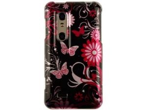 Hard Polycarbonate Reinforced Plastic Snap-on Two-Piece Phone Protector Case Cover Shell with Cool Stylish Pink Butterfly ...