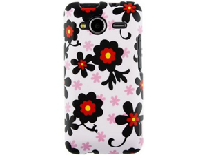 Rubber Coated Hard Plastic Black and White Daisy Design Phone Protector Case for HTC EVO Shift 4G PC36100