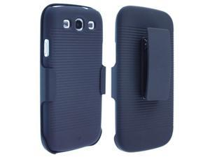 Rubberized Plastic Phone Case Cover Black with Holster Combo for Samsung Galaxy S III All Versions
