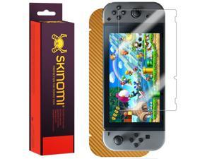 Skinomi? TechSkin - Nintendo Switch Screen Protector  + Gold Carbon Fiber Full Body Skin / Front & Back Wrap Clear Film / Ultra HD and Anti-Bubble Shield