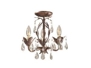 World Imports 81023-62 Bijoux Clct 3-Lgt Semi-Flush Convertible Chandelier, Weathered Bronze