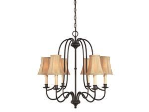 World Imports 3746-34 Brondy 6-Lgt Chandelier, Aged Ebony