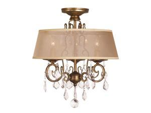 World Imports 1973-90 Belle Marie Clct 3-Lgt Flushmount Chandelier, Antique Gold