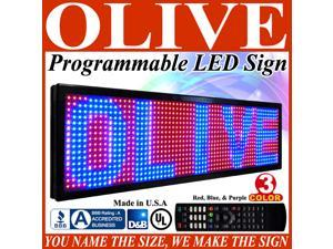 "Olive LED Signs 3 Color p15, 12"" x 50"" (RBP) programmable Scrolling Message board - Industrial Grade Business Tools"